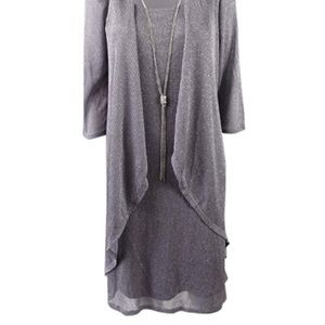 18705034de918 R   M Richards Dresses - R M Richards Shift Dress and Draped Jacket Silver
